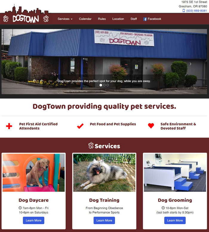 Snapshot of the DogTown Gresham homepage.